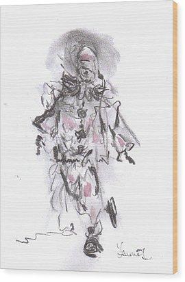 Dancing Clown Wood Print by Laurie L