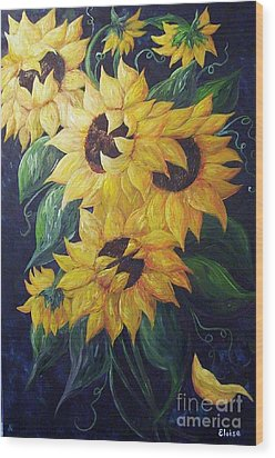 Dancing Sunflowers  Wood Print by Eloise Schneider