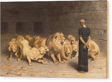 Daniel In The Lions Den Wood Print by Briton Riviere