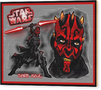 Darth Maul - Sith Lord Wood Print by Chris  DelVecchio