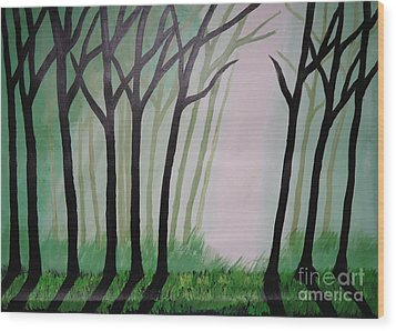 Day Light In Dark Forest Wood Print by Jnana Finearts