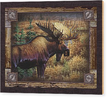 Wood Print featuring the painting Deco Moose by Cynthie Fisher