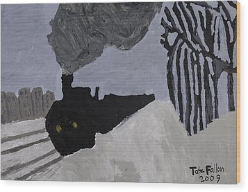 Wood Print featuring the painting Deco Train by Tate Fallon