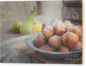 Deep Fried Fritters Donuts Wood Print by Mythja  Photography