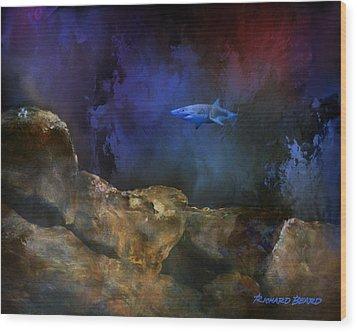 Deep Water Shark Wood Print