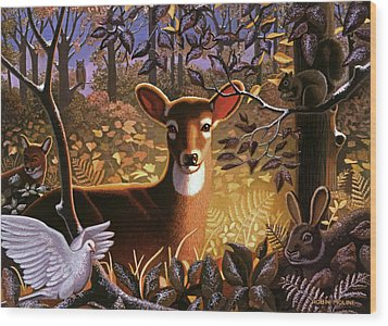 Wood Print featuring the painting Deer In The Forest by Robin Moline