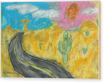 Wood Print featuring the pastel Desert Road by Artists With Autism Inc