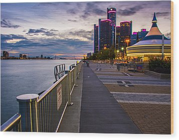 Detroit River Walk Wood Print