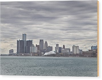 Detroit Skyline From Belle Isle Wood Print