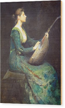 Dewing's Lady With A Lute Wood Print by Cora Wandel