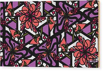 Wood Print featuring the digital art Digi-flora by Elizabeth McTaggart