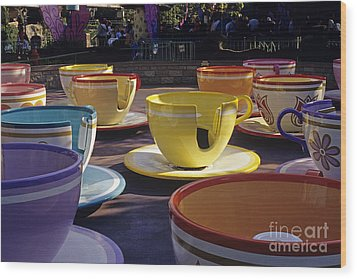 Disneyland Rides Mad Tea Party Ride Anaheim California Usa Wood Print