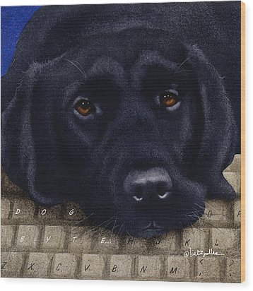 Wood Print featuring the painting Dog Byte... by Will Bullas