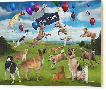 Dog Park Party Wood Print