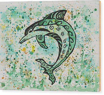 Wood Print featuring the painting Dolphin 2 by Darice Machel McGuire