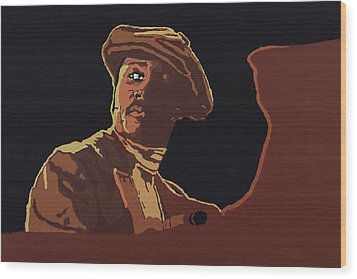 Wood Print featuring the painting Donny Hathaway by Rachel Natalie Rawlins