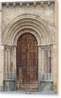 Door Wood Print by Frank Tschakert