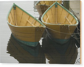Dories At The Dock Wood Print by David Stone