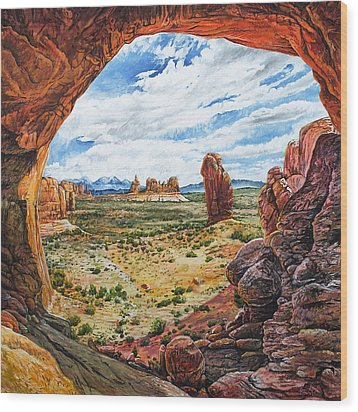 Wood Print featuring the painting Double Arch by Aaron Spong