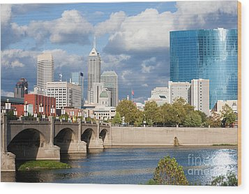 Downtown Indianapolis Indiana Wood Print by Anthony Totah