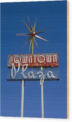 Downtown Plaza Wood Print by Matthew Bamberg