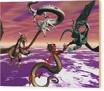Dragon Attack Wood Print by Michele Wilson