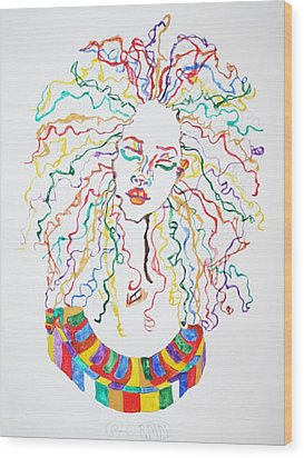 Dreadlocks Piano Goddess Wood Print by Stormm Bradshaw