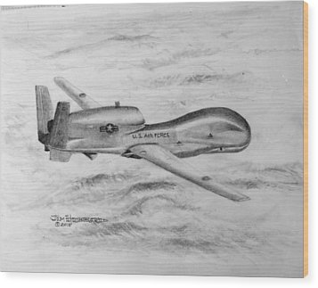 Wood Print featuring the drawing Drone Rq-4 Global Hawk by Jim Hubbard
