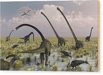 Duckbill Dinosaurs And Large Sauropods Wood Print by Mark Stevenson