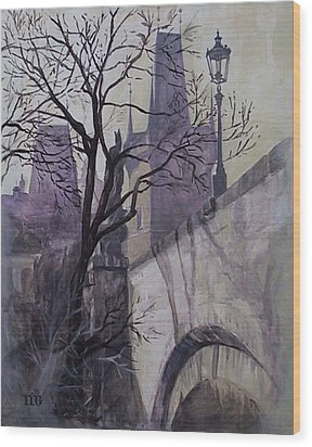Dusk At The Charles Bridge Wood Print