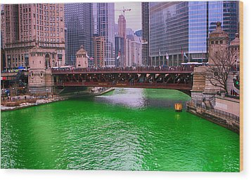 Dyeing The Chicago River Green Wood Print by Jerome Lynch