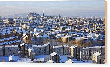 Edinburgh Winter Cityscape Wood Print by Craig B