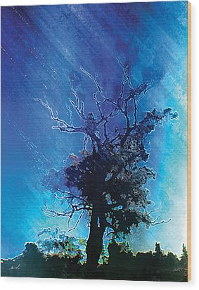 Electric Tree Wood Print by The Art of Marsha Charlebois