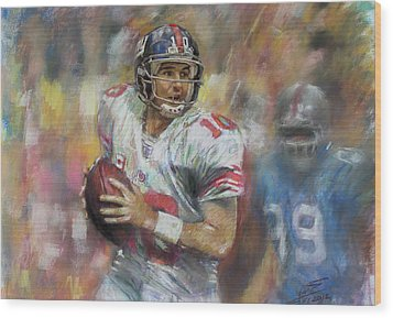 Eli Manning Nfl Ny Giants Wood Print by Viola El