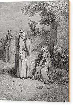 Eliezer And Rebekah Wood Print by Gustave Dore