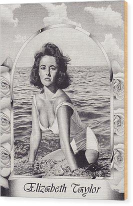 Elizabeth Taylor Wood Print by Herb Jordan