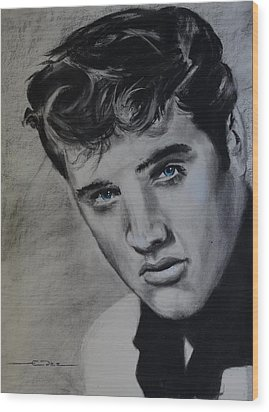 Wood Print featuring the drawing Elvis Presley - America by Eric Dee
