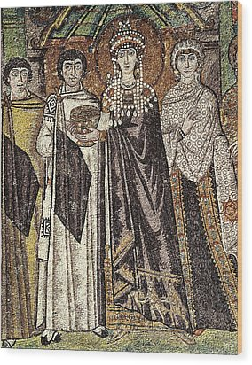 Empress Theodora With Her Court. Ca Wood Print by Everett