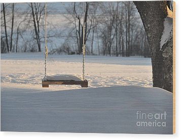 Wood Print featuring the photograph Empty Swing by John Black