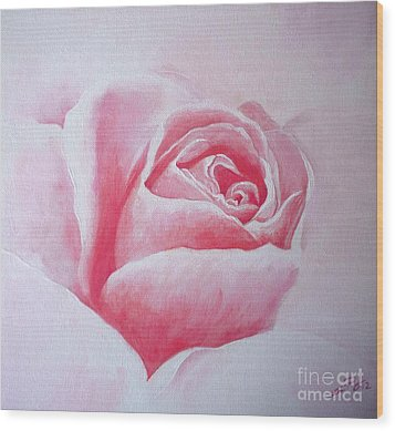 Wood Print featuring the painting English Rose by Sandra Phryce-Jones