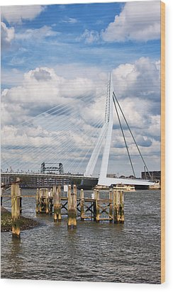 Erasmus Bridge In Rotterdam Wood Print by Artur Bogacki
