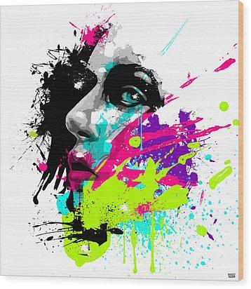 Face Paint 2 Wood Print by Jeremy Scott