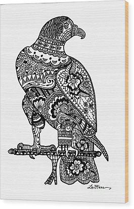 Falcon Wood Print by Lamarr Kramer