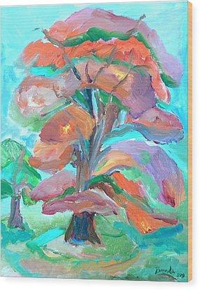 Fall Colors Wood Print by Brenda Ruark
