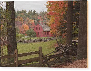 Fall Foliage Over A Red Wooden Home At Sturbridge Village Wood Print by Jeff Folger