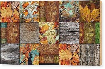 Fall  Wood Print by France Laliberte