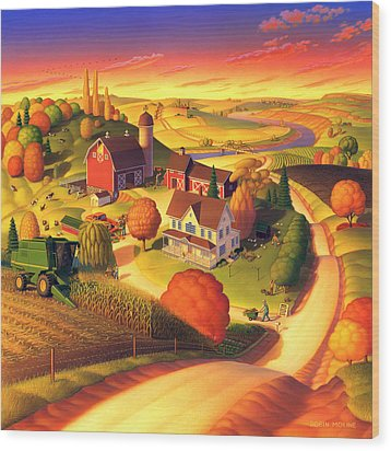 Fall On The Farm  Wood Print
