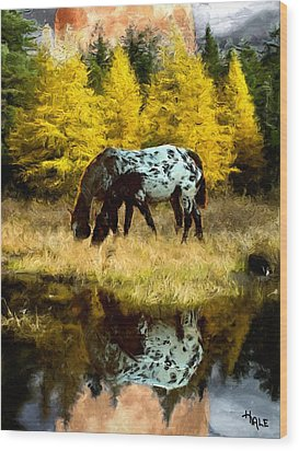Fall Reflections Wood Print by Roger D Hale