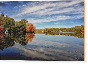 Fall Reflections Wood Print by Tricia Marchlik