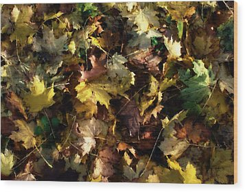 Wood Print featuring the digital art Fallen Leaves by Ron Harpham